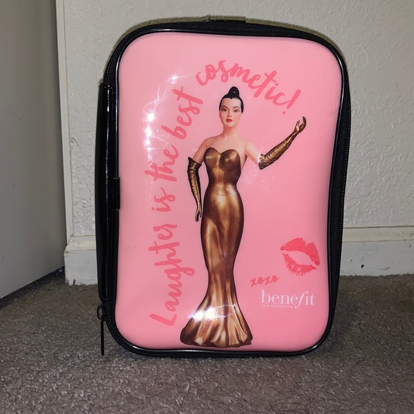 Benefit travel cosmetic bag with carrying strap
